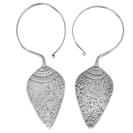 ethnic silver jewels - traditional Miao earrings