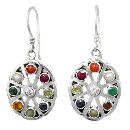 earrings navaratna - semiprecious stones