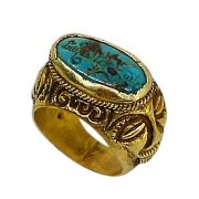 turquoise signet gold ring